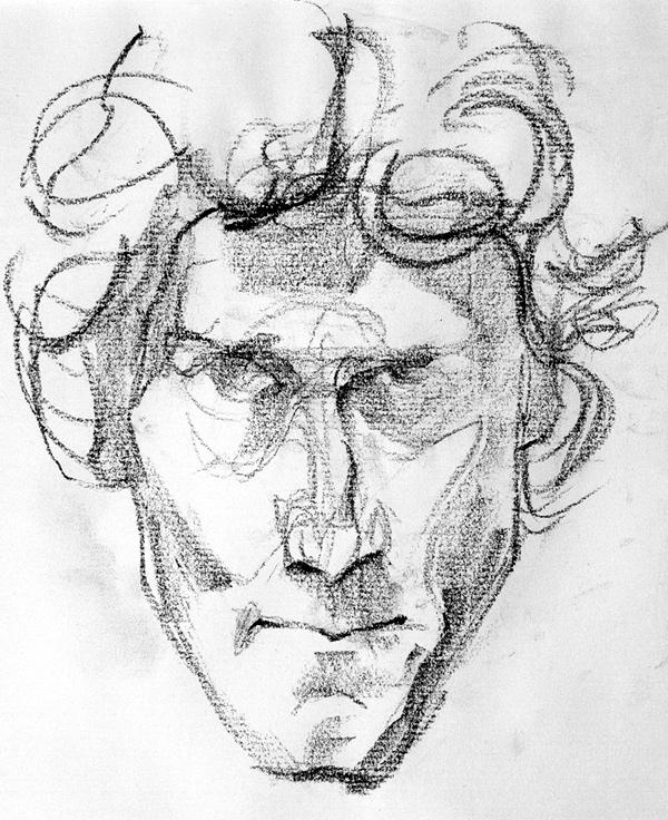 Tomek Szkodziński drawing rysunek autoportret