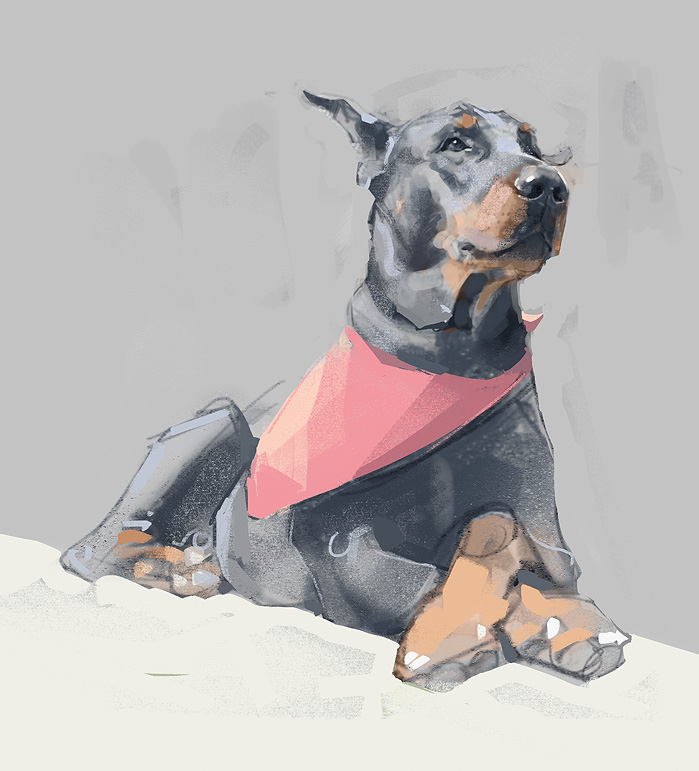 dog digital painting super pascal