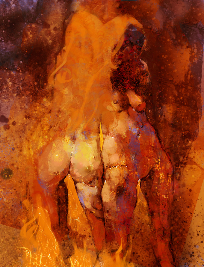 nude girls fire witches digital painting